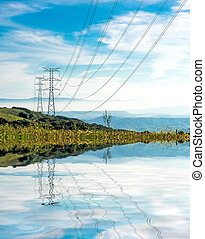 Electricity Pylon - UK standard overhead power line...