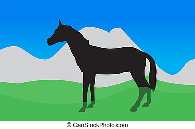 Horse Walks, Eats the Grass. Vector Illustration. EPS10. -...