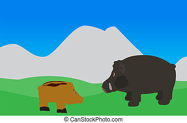 Pig Walks, Eats the Grass. Vector Illustration. EPS10. - Pig...