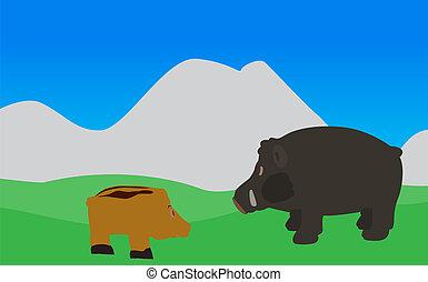Pig Walks, Eats the Grass. Vector Illustration. EPS10. - Pig...