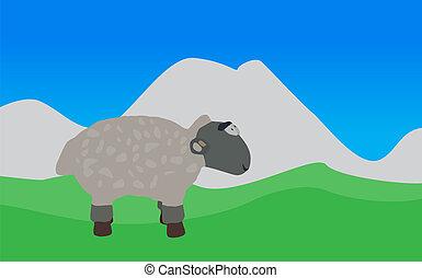 Lamb Walks, Eats the Grass. EPS10. - Lamb Walks, Eats the...