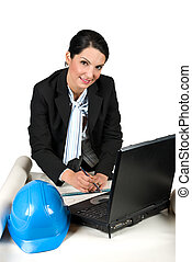 Architect woman working in office - Architect woman wearing...