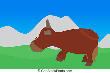 Cow Walks, Eats the Grass. Vector Illustration. EPS10. - Cow...