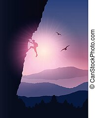 Rock climber background - Silhouette of a rock climber...