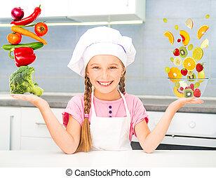 equilibrado, menina, piramide, legumes