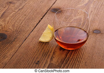 Luxury Cognac in decorative glass with lemon - Luxury Cognac...
