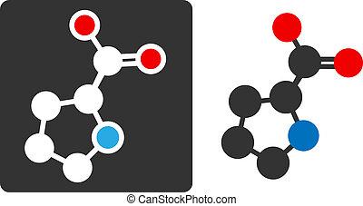 Proline amino acid molecule, flat icon style. Carbon,...