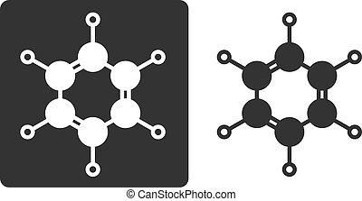 Benzene (C6H6) aromatic hydrocarbon molecule, flat icon style. Atoms shown as circles (carbon - large, hydrogen - small).