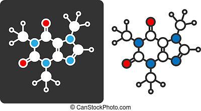 Caffeine stimulant molecule, flat icon style. Stylized...
