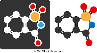 Saccharin artificial sweetener molecule, flat icon style. Atoms shown as color-coded circles (oxygen - red, nitrogen - blue, carbon - white/grey, sulfur - yellow, hydrogen - hidden).
