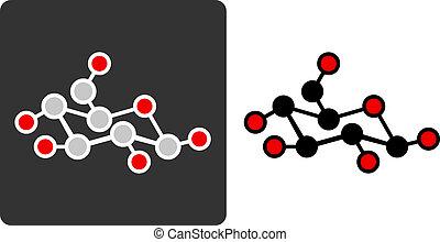 Sugar glucose, beta-D-glucose molecule, flat icon style...