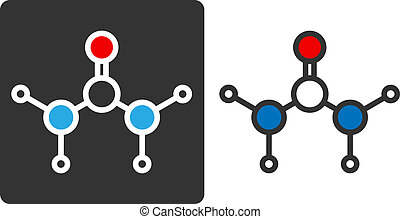 Urea (carbamide) molecule, flat icon style. Used in skin...