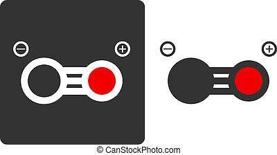Carbon monoxide molecule, flat icon style. Atoms shown as...
