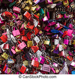 many colored locks of love in the gate of the House of Romeo...