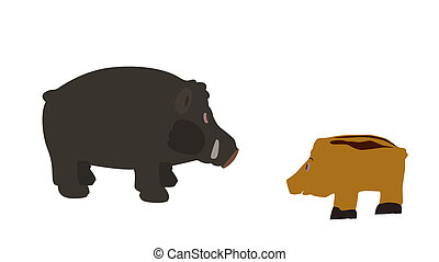 Pig Isolated on White Background. Vector Illustration....