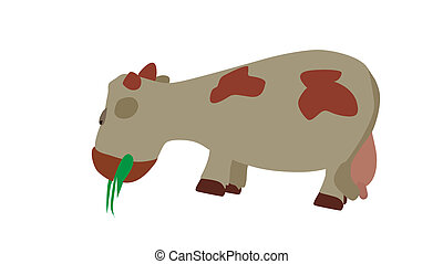 Cow Eats the Grass. Vector Illustration. EPS10. - Cow Eats...
