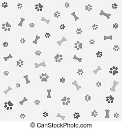 Background with dog paw print, bone