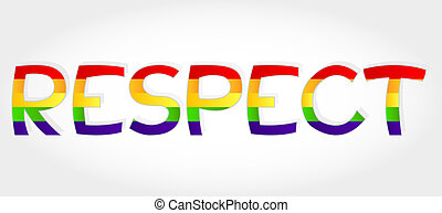 Respect word - Respect stylized word with rainbow