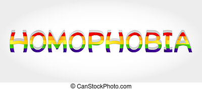 Homophobia word - Homophobia stylized word with rainbow