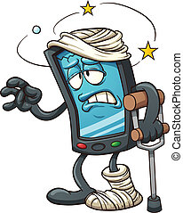 Broken smartphone - Cartoon broken smartphone. Vector clip...