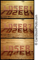 Collage losers text from lottery tickets on wooden background