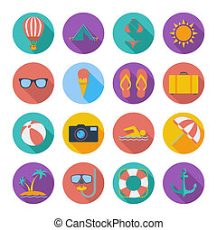Summer icons set. Color flat vector illustration.