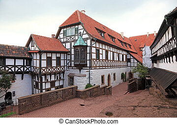 Half timbered house at the Wartburg Castle in Thuringia,...