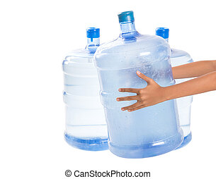 Large Mineral Water Container - Girl hands with a large...