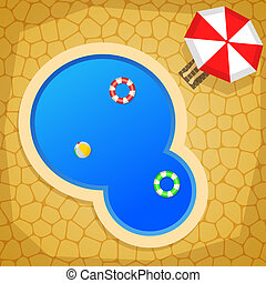 Swimming Pool - Summer cartoon background with swimming...