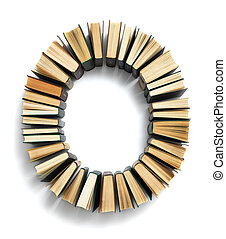 Letter O formed from the page ends of books - Letter O...