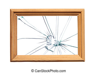 Scandal - Wooden frame with broken glass for your images...