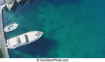 Pomena in National Park Mljet, Croatia - Copter aerial view,...