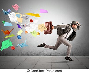 Fast business concept with running businessman