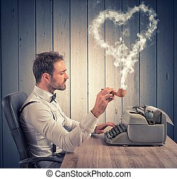 Love letter - A man writing a love letter for valentine day