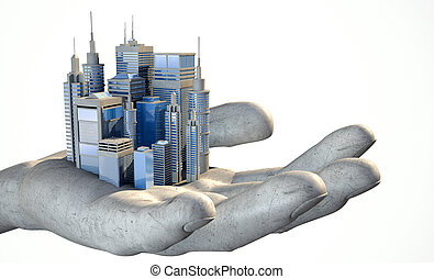 Skyscraper City In The Palm Of A Hand - A small modern...