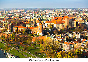 Aerial view of Royal Wawel castle with park in Krakow,...