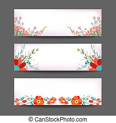 Set of three nature vector banners
