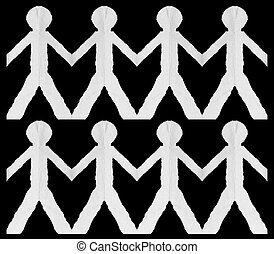 Cutout Paper Men - Two rows of white cardboard cutout men on...