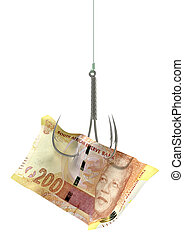 Rand Banknote Baited Hook - A concept image showing a two...
