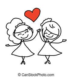 pareja, mano, boda, caricatura, dibujo, feliz