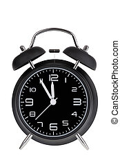 Black alarm clock isolated on white - Black alarm clock with...