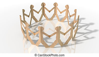 Circle Of Cutout Paper Cardboard Men - A circle of brown...