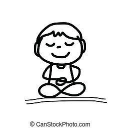 hand drawing cartoon meditation - hand drawing cartoon happy...