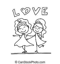coppia, mano, matrimonio, cartone animato, disegno, Felice