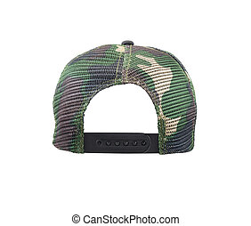 Back view of camouflage cap Isolated on white background -...