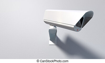 Surveillance Camera On White - A white wireless surveillance...