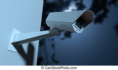 Surveillance Camera In The Night-time - A white wireless...