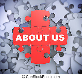 3d puzzle pieces - about us - 3d illustration of attached...