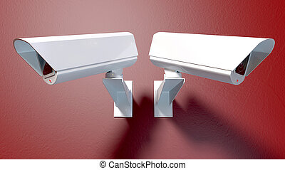 Surveillance Cameras On Red - Two white wireless...