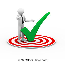 3d person on target with right check mark